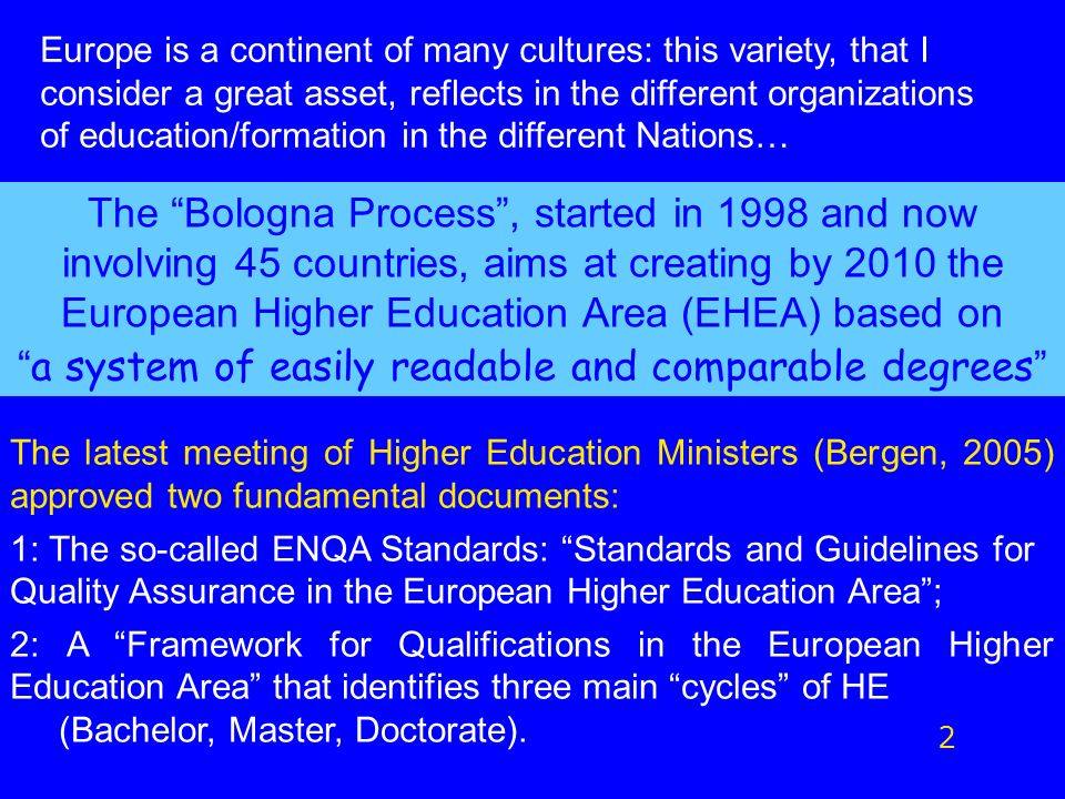 The Bologna Process, started in 1998 and now involving 45 countries, aims at creating by 2010 the European Higher Education Area (EHEA) based on a system of easily readable and comparable degrees 2 The latest meeting of Higher Education Ministers (Bergen, 2005) approved two fundamental documents: 1: The so-called ENQA Standards: Standards and Guidelines for Quality Assurance in the European Higher Education Area; 2: A Framework for Qualifications in the European Higher Education Area that identifies three main cycles of HE (Bachelor, Master, Doctorate).