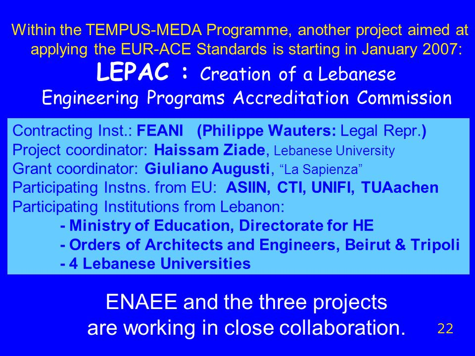 Contracting Inst.: FEANI (Philippe Wauters: Legal Repr.) Project coordinator: Haissam Ziade, Lebanese University Grant coordinator: Giuliano Augusti, La Sapienza Participating Instns.