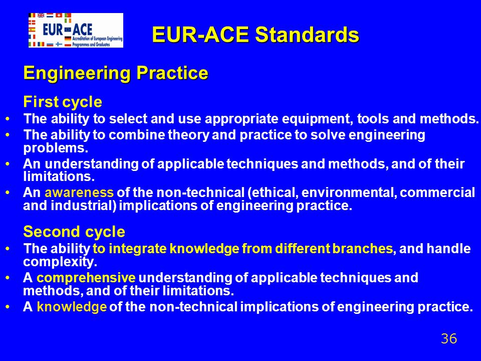 EUR-ACE Standards Engineering Practice First cycle The ability to select and use appropriate equipment, tools and methods. The ability to combine theo