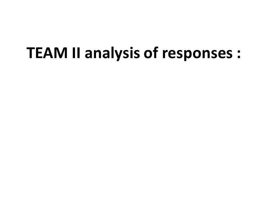 TEAM II analysis of responses :