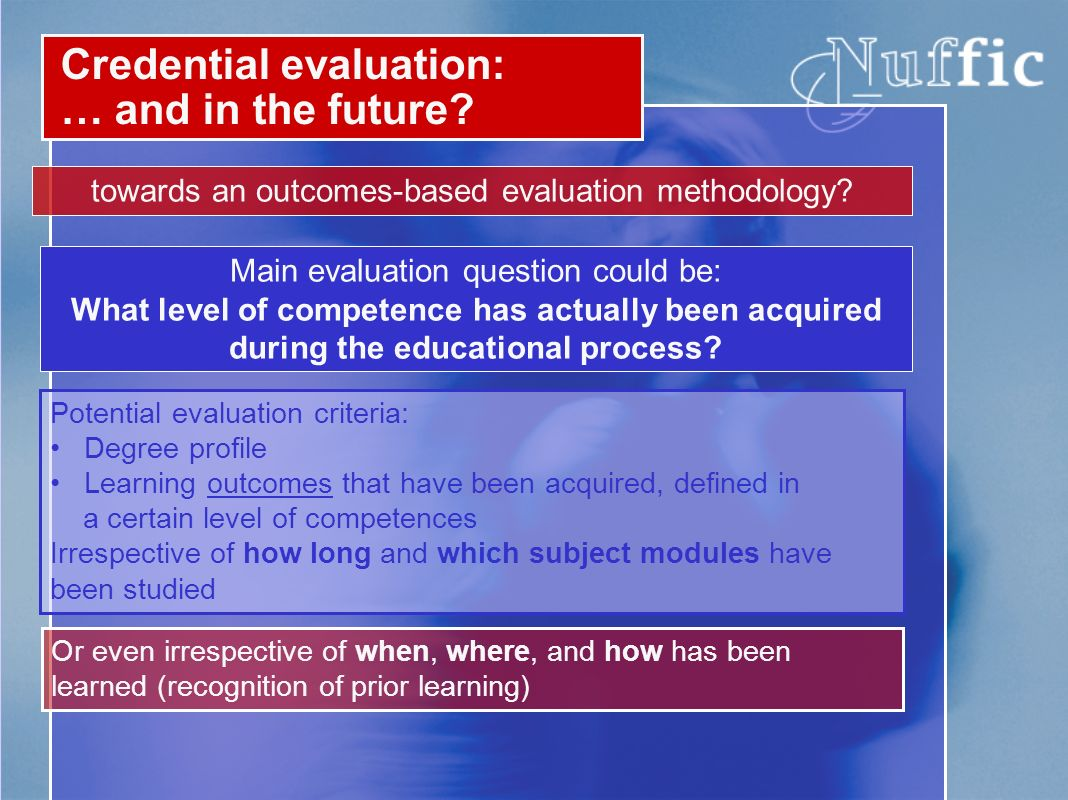 Credential evaluation: … and in the future. towards an outcomes-based evaluation methodology.