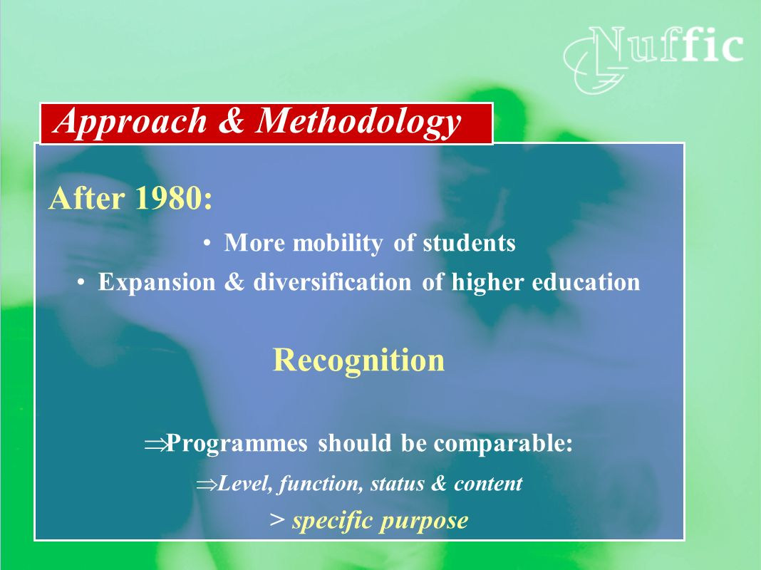 After 1980: More mobility of students Expansion & diversification of higher education Recognition Programmes should be comparable: Level, function, st