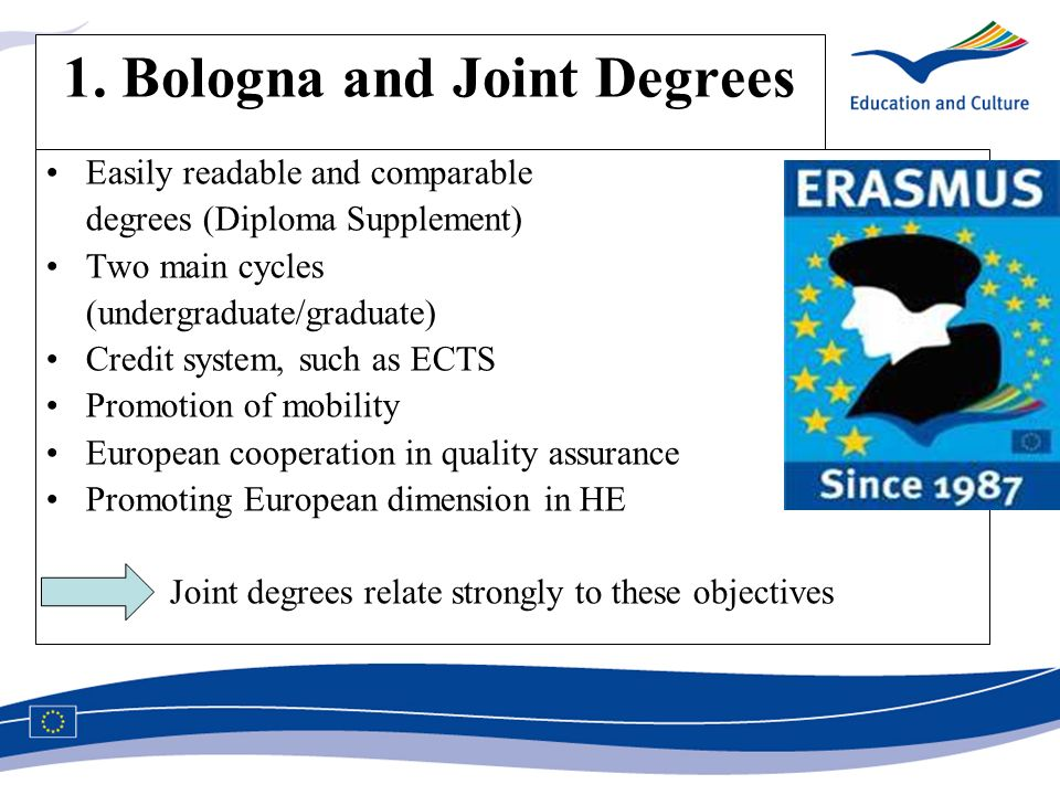 1. Bologna and Joint Degrees Easily readable and comparable degrees (Diploma Supplement) Two main cycles (undergraduate/graduate) Credit system, such
