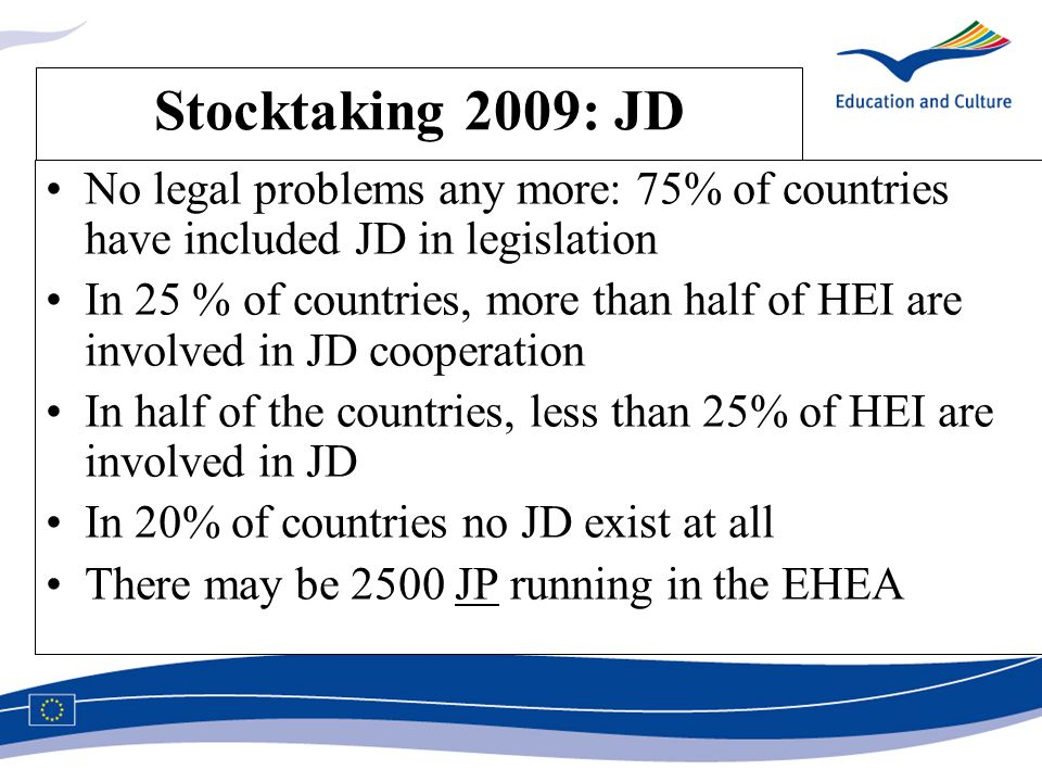 Stocktaking 2009: JD No legal problems any more: 75% of countries have included JD in legislation In 25 % of countries, more than half of HEI are involved in JD cooperation In half of the countries, less than 25% of HEI are involved in JD In 20% of countries no JD exist at all There may be 2500 JP running in the EHEA