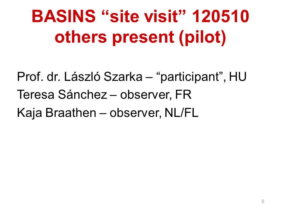 BASINS site visit 120510 others present (pilot) Prof. dr. László Szarka – participant, HU Teresa Sánchez – observer, FR Kaja Braathen – observer, NL/F