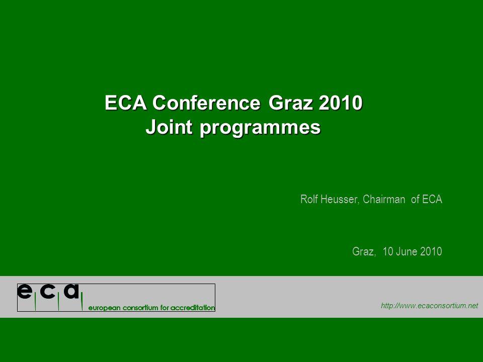 http://www.ecaconsortium.net ECA Conference Graz 2010 Joint programmes Rolf Heusser, Chairman of ECA Graz, 10 June 2010