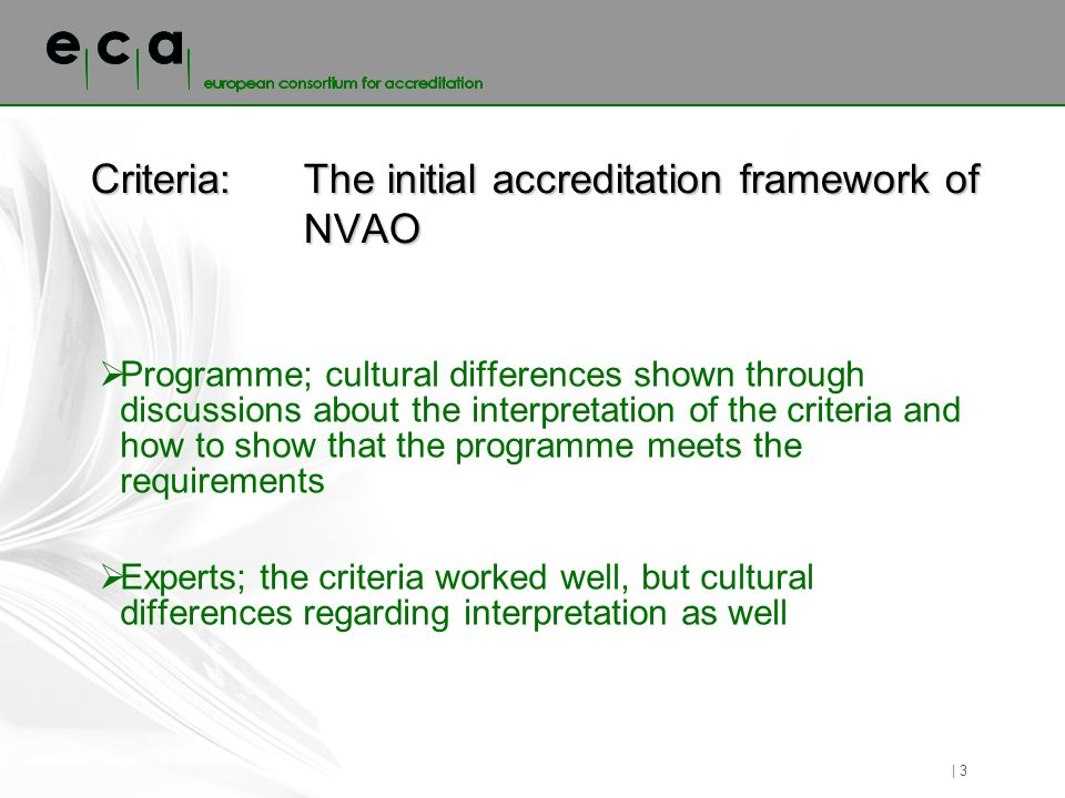 Criteria: The initial accreditation framework of NVAO Programme; cultural differences shown through discussions about the interpretation of the criteria and how to show that the programme meets the requirements Experts; the criteria worked well, but cultural differences regarding interpretation as well | 3