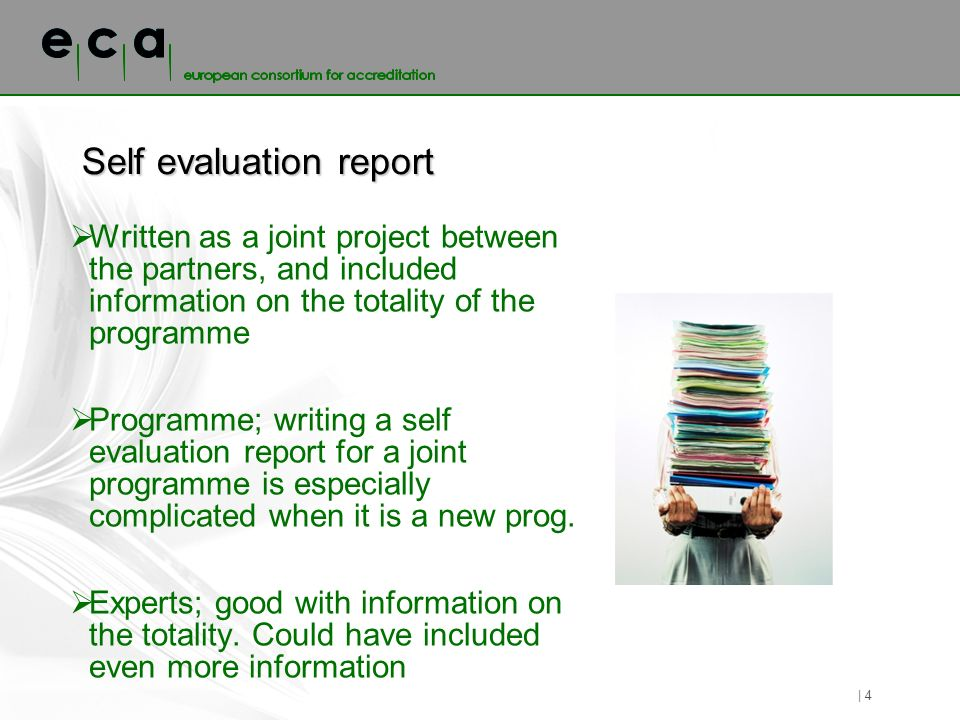Self evaluation report Written as a joint project between the partners, and included information on the totality of the programme Programme; writing a self evaluation report for a joint programme is especially complicated when it is a new prog.