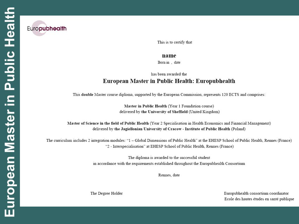 European Master in Public Health
