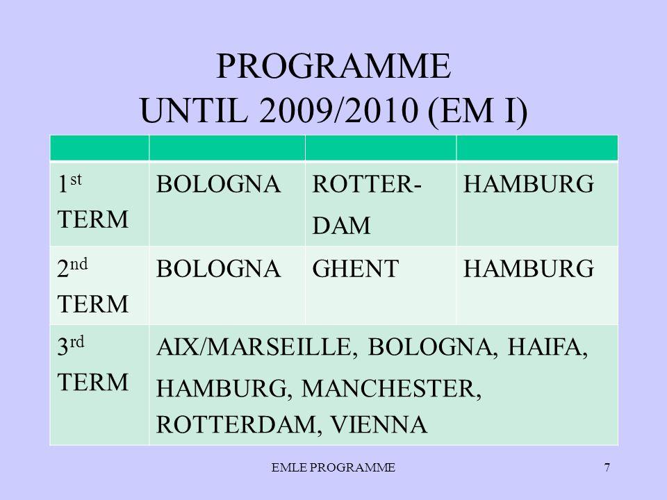 PROGRAMME UNTIL 2009/2010 (EM I) 1 st TERM BOLOGNA ROTTER- DAM HAMBURG 2 nd TERM BOLOGNAGHENTHAMBURG 3 rd TERM AIX/MARSEILLE, BOLOGNA, HAIFA, HAMBURG,