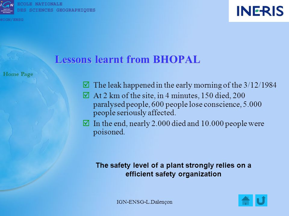 IGN-ENSG-L.Dalençon Course of the BHOPAL Accident Home Page 1.