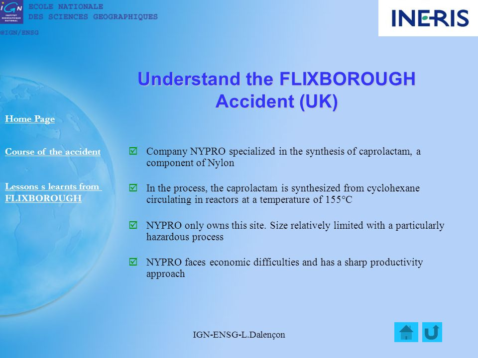 IGN-ENSG-L.Dalençon Understand the FLIXBOROUGH Accident (UK) Company NYPRO specialized in the synthesis of caprolactam, a component of Nylon In the process, the caprolactam is synthesized from cyclohexane circulating in reactors at a temperature of 155°C NYPRO only owns this site.