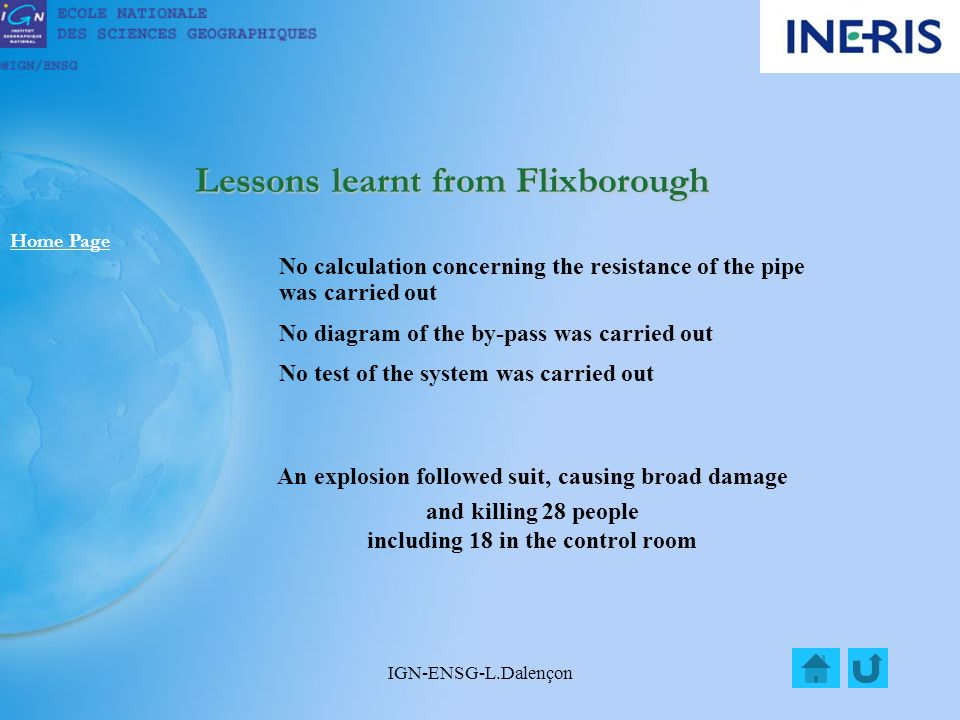 IGN-ENSG-L.Dalençon Lessons learnt from Flixborough Home Page An explosion followed suit, causing broad damage and killing 28 people including 18 in the control room No calculation concerning the resistance of the pipe was carried out No diagram of the by-pass was carried out No test of the system was carried out