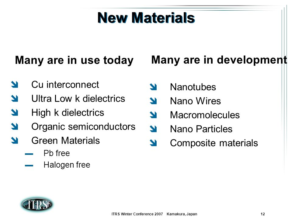 ITRS Winter Conference 2007 Kamakura, Japan 12 New Materials Cu interconnect Ultra Low k dielectrics High k dielectrics Organic semiconductors Green M