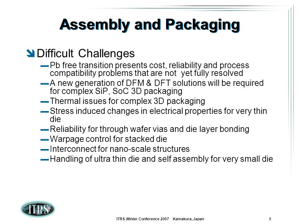ITRS Winter Conference 2007 Kamakura, Japan 5 Assembly and Packaging Difficult Challenges Pb free transition presents cost, reliability and process co