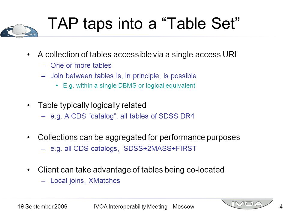 19 September 2006IVOA Interoperability Meeting – Moscow5 Character of a TAP Carrier protocol –GET, POST, or SOAP supportable –Some advanced queries may not be supportable with GET, POST Operations –Search Query Query format used –Native SQL, ADQL/s, ADQL/x, … Output format desired Top/Offset selections Disposition – what to do with results –Return to caller synchronously, save in store for later retrieval –Upload: returns a name and longevity –getCapabilities: what QL features are supported –TableSet: describe tables, columns available (as queryable tables?) Notice that Query Language does not require… –TOP/OFFSET –SELECT INTO –UPLOAD
