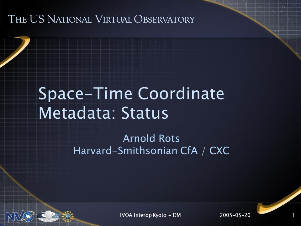 2005-05-20IVOA Interop Kyoto - DM1 Space-Time Coordinate Metadata: Status Arnold Rots Harvard-Smithsonian CfA / CXC T HE US N ATIONAL V IRTUAL O BSERV