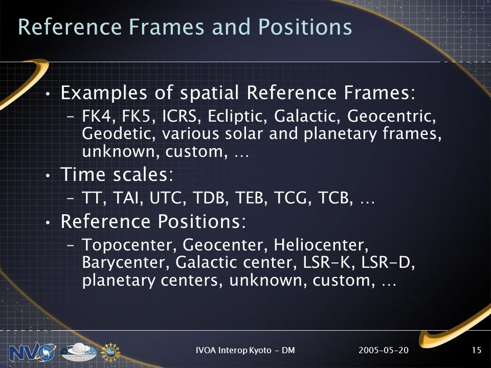 IVOA Interop Kyoto - DM15 Reference Frames and Positions Examples of spatial Reference Frames: –FK4, FK5, ICRS, Ecliptic, Galactic, Geocentric, Geodetic, various solar and planetary frames, unknown, custom, … Time scales: –TT, TAI, UTC, TDB, TEB, TCG, TCB, … Reference Positions: –Topocenter, Geocenter, Heliocenter, Barycenter, Galactic center, LSR-K, LSR-D, planetary centers, unknown, custom, …