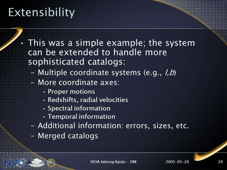 2005-05-20IVOA Interop Kyoto - DM24 Extensibility This was a simple example; the system can be extended to handle more sophisticated catalogs: –Multiple coordinate systems (e.g., l,b) –More coordinate axes: Proper motions Redshifts, radial velocities Spectral information Temporal information –Additional information: errors, sizes, etc.