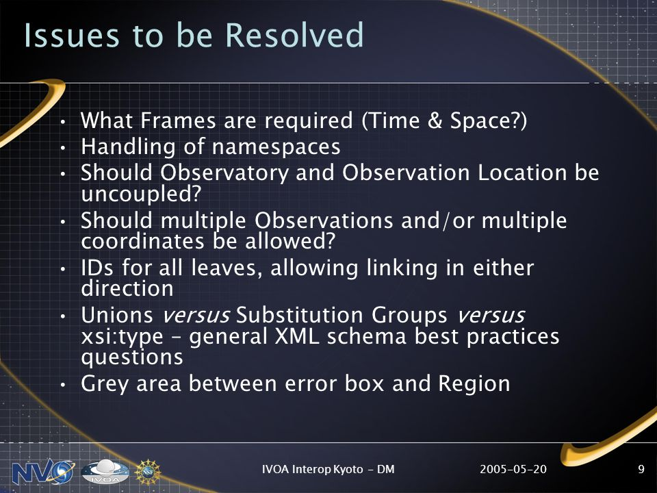 IVOA Interop Kyoto - DM9 Issues to be Resolved What Frames are required (Time & Space ) Handling of namespaces Should Observatory and Observation Location be uncoupled.