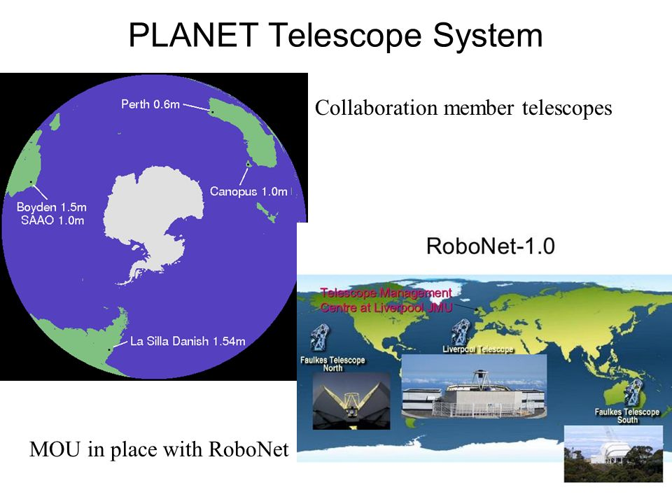 PLANET Telescope System Collaboration member telescopes MOU in place with RoboNet