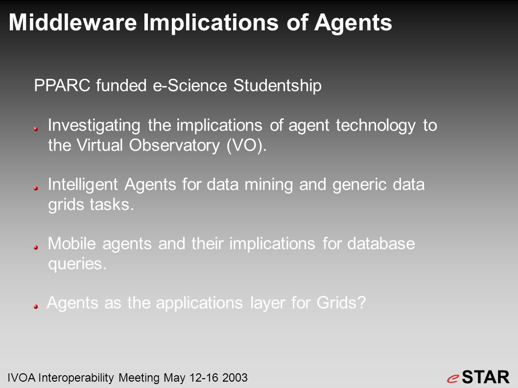 Middleware Implications of Agents PPARC funded e-Science Studentship Investigating the implications of agent technology to the Virtual Observatory (VO).