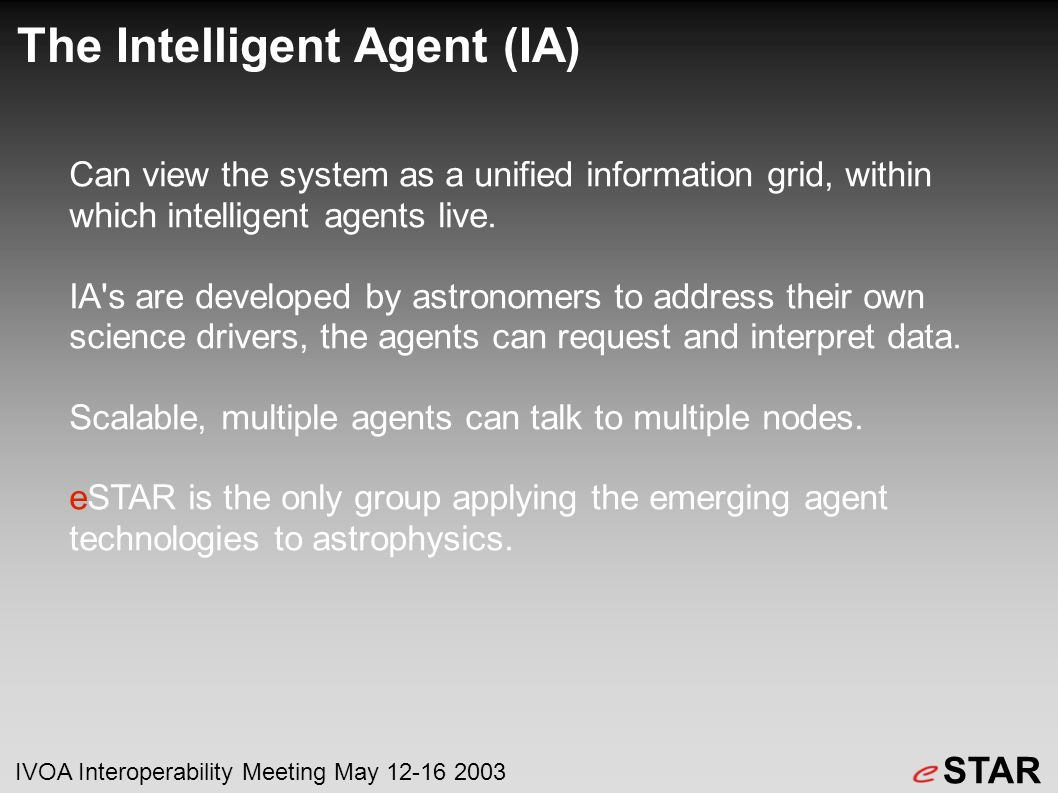 The Intelligent Agent (IA) Can view the system as a unified information grid, within which intelligent agents live.