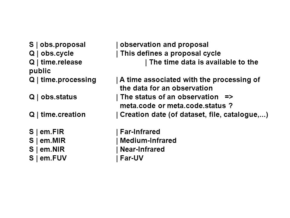 S | obs.proposal | observation and proposal Q | obs.cycle | This defines a proposal cycle Q | time.release | The time data is available to the public Q | time.processing | A time associated with the processing of the data for an observation Q | obs.status | The status of an observation => meta.code or meta.code.status .