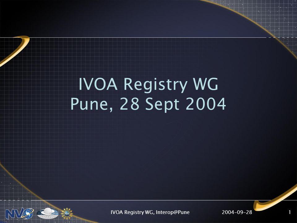 2004-09-28IVOA Registry WG, Interop@Pune12 NVO Public Registries RegistryURLSearchable?Publishing.