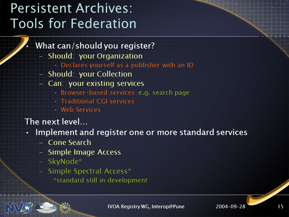 IVOA Registry WG, What can/should you register.