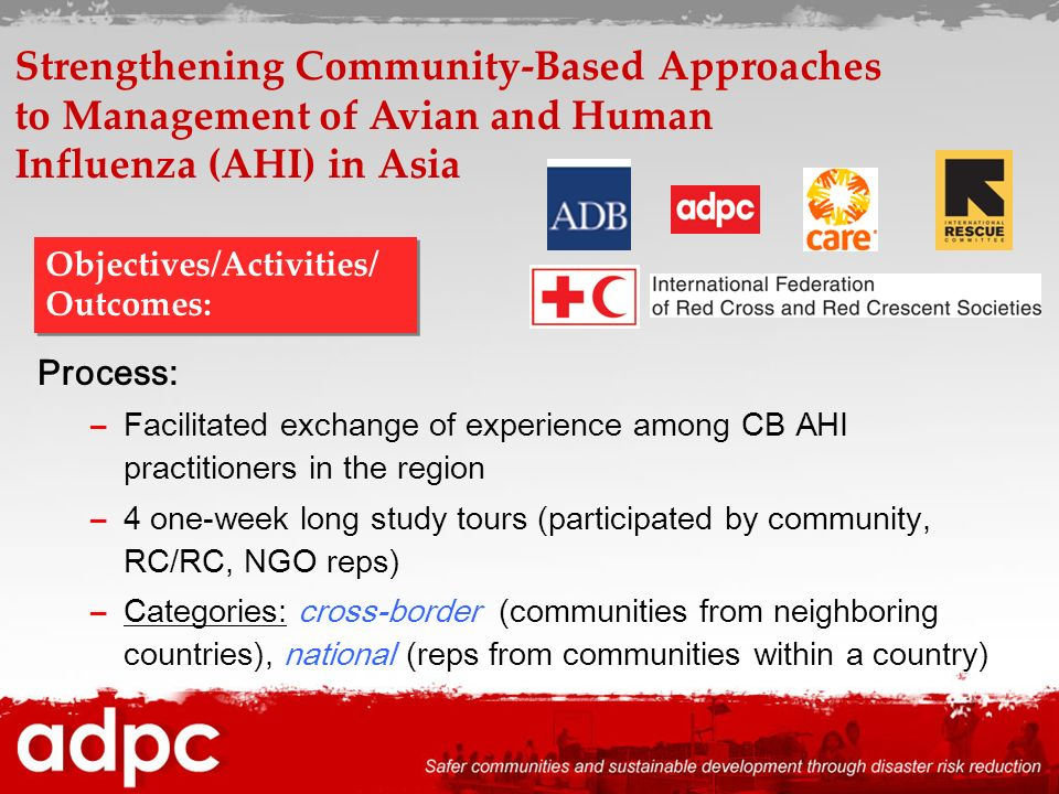 Process: –Facilitated exchange of experience among CB AHI practitioners in the region –4 one-week long study tours (participated by community, RC/RC,