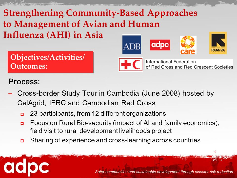 Process: –Cross-border Study Tour in Cambodia (June 2008) hosted by CelAgrid, IFRC and Cambodian Red Cross 23 participants, from 12 different organiza