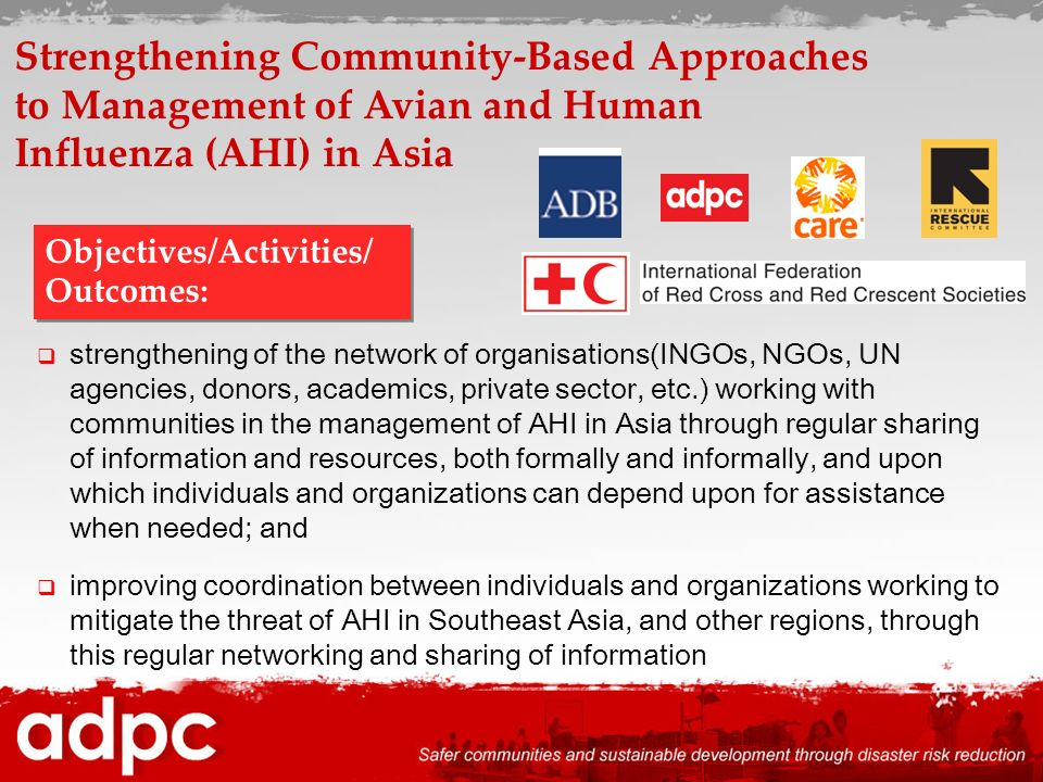 strengthening of the network of organisations(INGOs, NGOs, UN agencies, donors, academics, private sector, etc.) working with communities in the manag