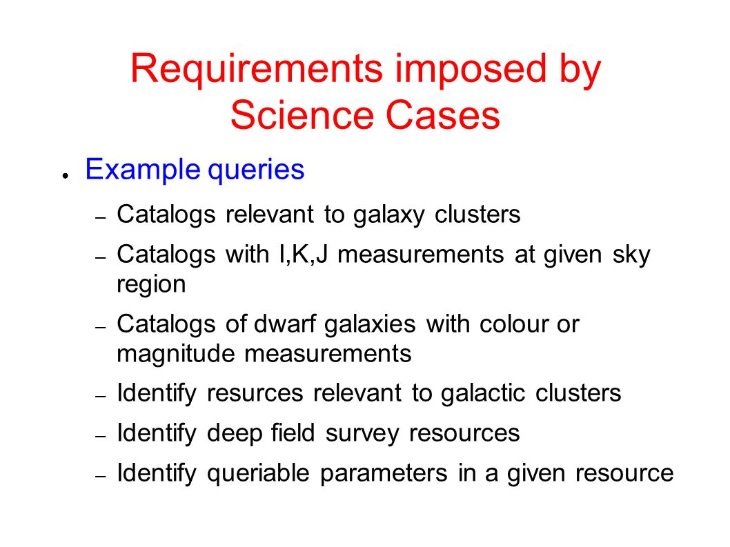 Requirements imposed by Science Cases Example queries – Catalogs relevant to galaxy clusters – Catalogs with I,K,J measurements at given sky region – Catalogs of dwarf galaxies with colour or magnitude measurements – Identify resurces relevant to galactic clusters – Identify deep field survey resources – Identify queriable parameters in a given resource