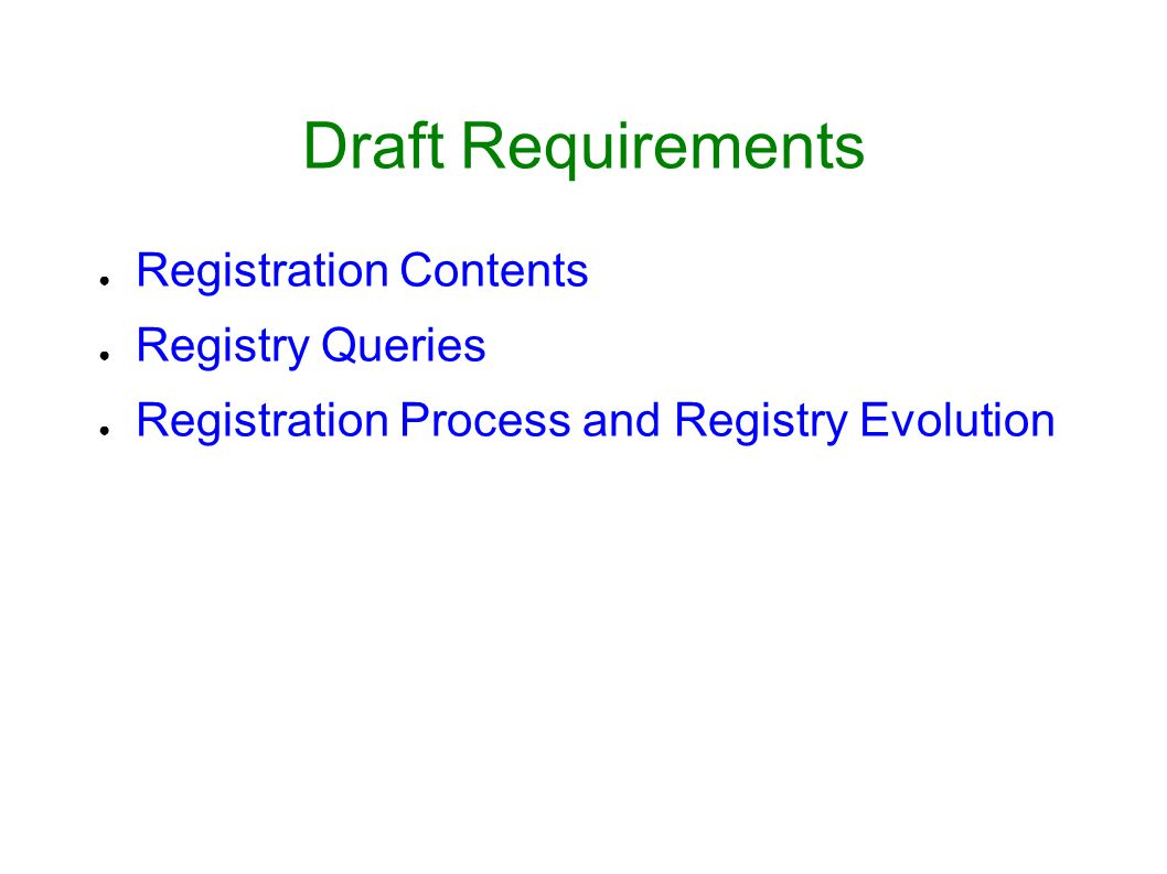 Draft Requirements Registration Contents Registry Queries Registration Process and Registry Evolution