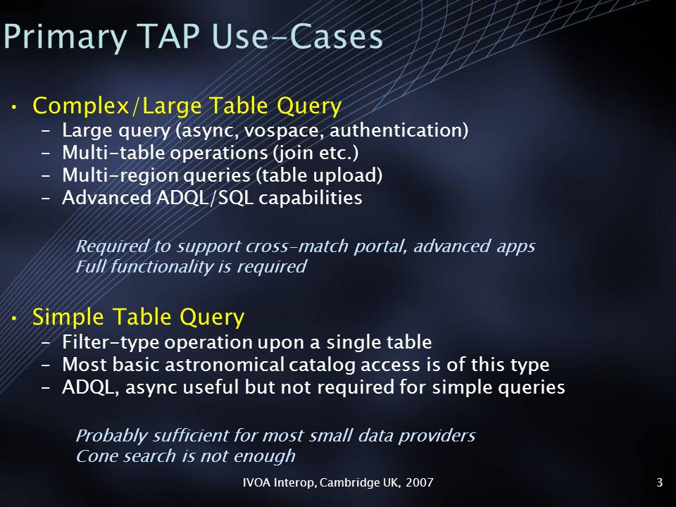 IVOA Interop, Cambridge UK, 20073 Primary TAP Use-Cases Complex/Large Table Query –Large query (async, vospace, authentication) –Multi-table operations (join etc.) –Multi-region queries (table upload) –Advanced ADQL/SQL capabilities Required to support cross-match portal, advanced apps Full functionality is required Simple Table Query –Filter-type operation upon a single table –Most basic astronomical catalog access is of this type –ADQL, async useful but not required for simple queries Probably sufficient for most small data providers Cone search is not enough
