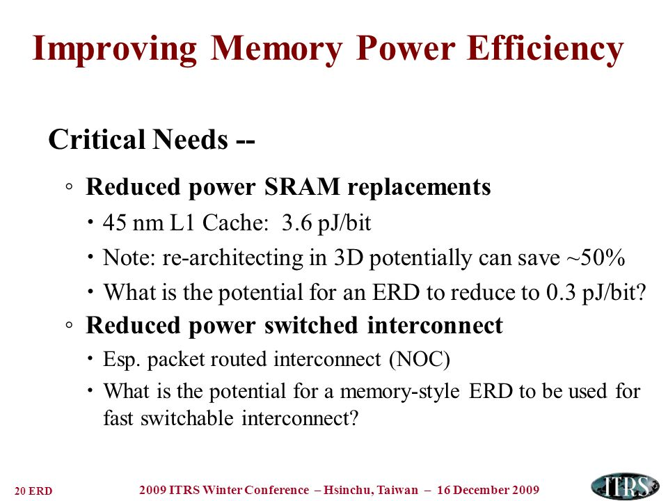 20 ERD 2009 ITRS Winter Conference – Hsinchu, Taiwan – 16 December 2009 Improving Memory Power Efficiency Critical Needs -- Reduced power SRAM replace
