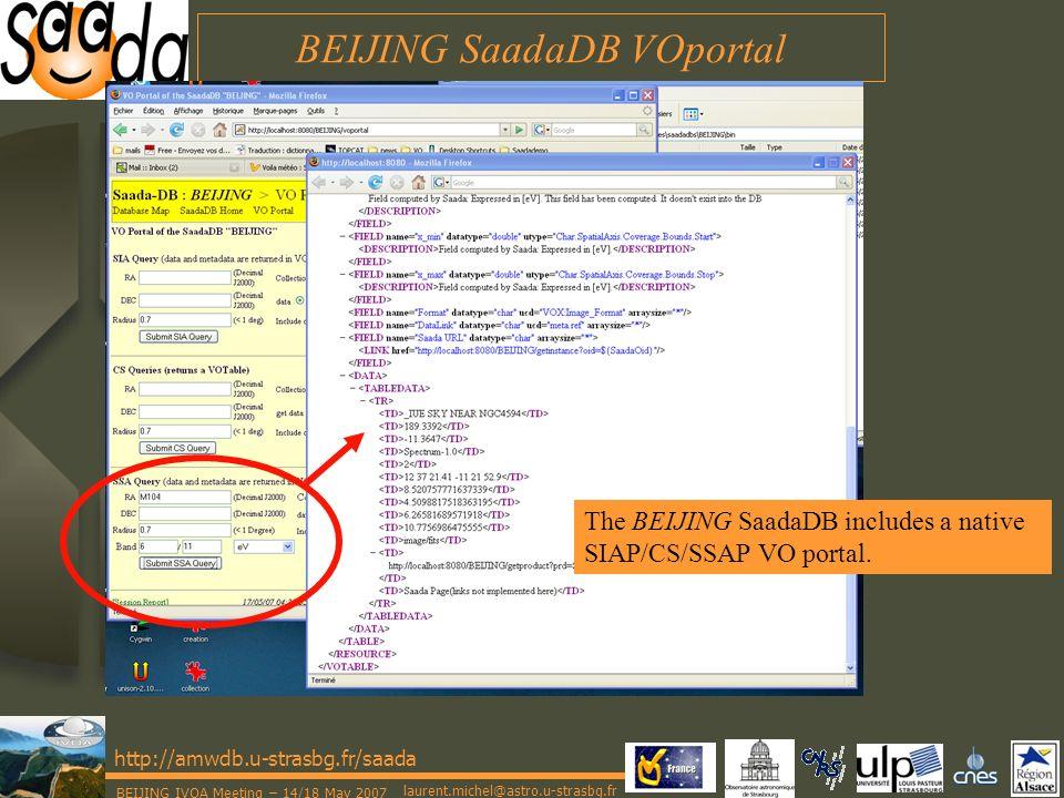 laurent.michel@astro.u-strasbg.fr http://amwdb.u-strasbg.fr/saada BEIJING IVOA Meeting – 14/18 May 2007 BEIJING SaadaDB VOportal The BEIJING SaadaDB includes a native SIAP/CS/SSAP VO portal.
