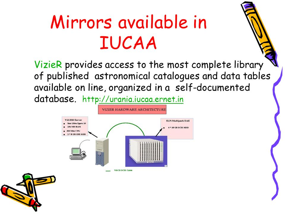 Mirrors available in IUCAA VizieR provides access to the most complete library of published astronomical catalogues and data tables available on line,