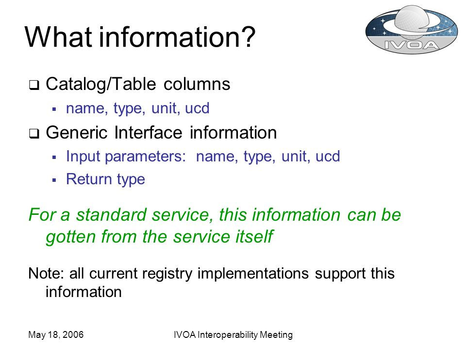 May 18, 2006IVOA Interoperability Meeting What information? Catalog/Table columns name, type, unit, ucd Generic Interface information Input parameters