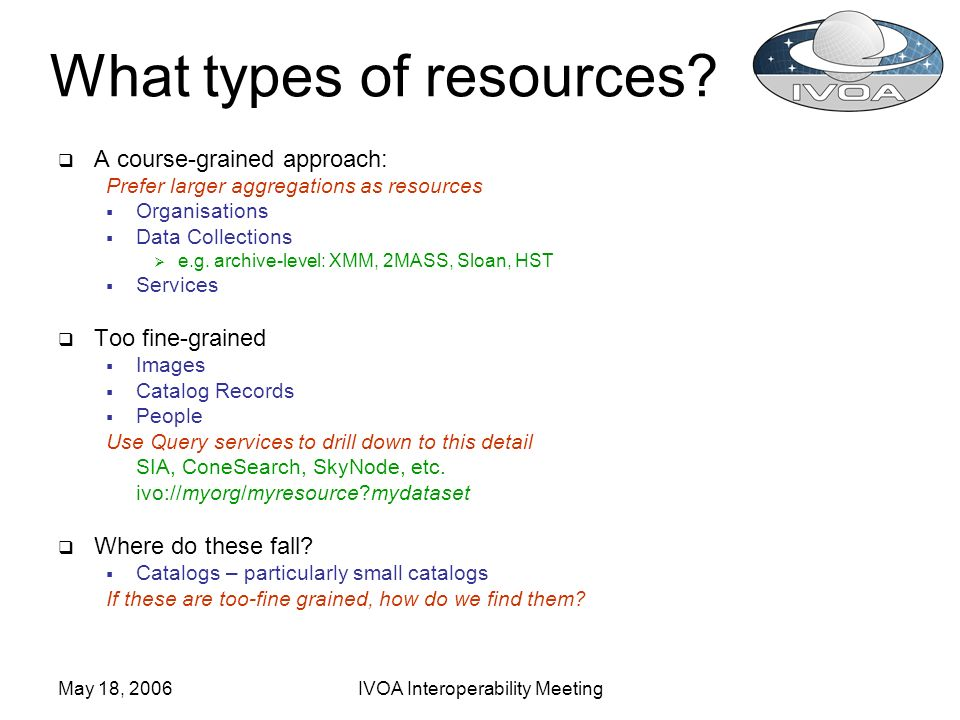May 18, 2006IVOA Interoperability Meeting What types of resources? A course-grained approach: Prefer larger aggregations as resources Organisations Da