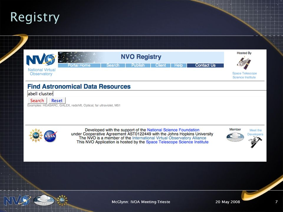 20 May 2008McGlynn: IVOA Meeting-Trieste7 Registry