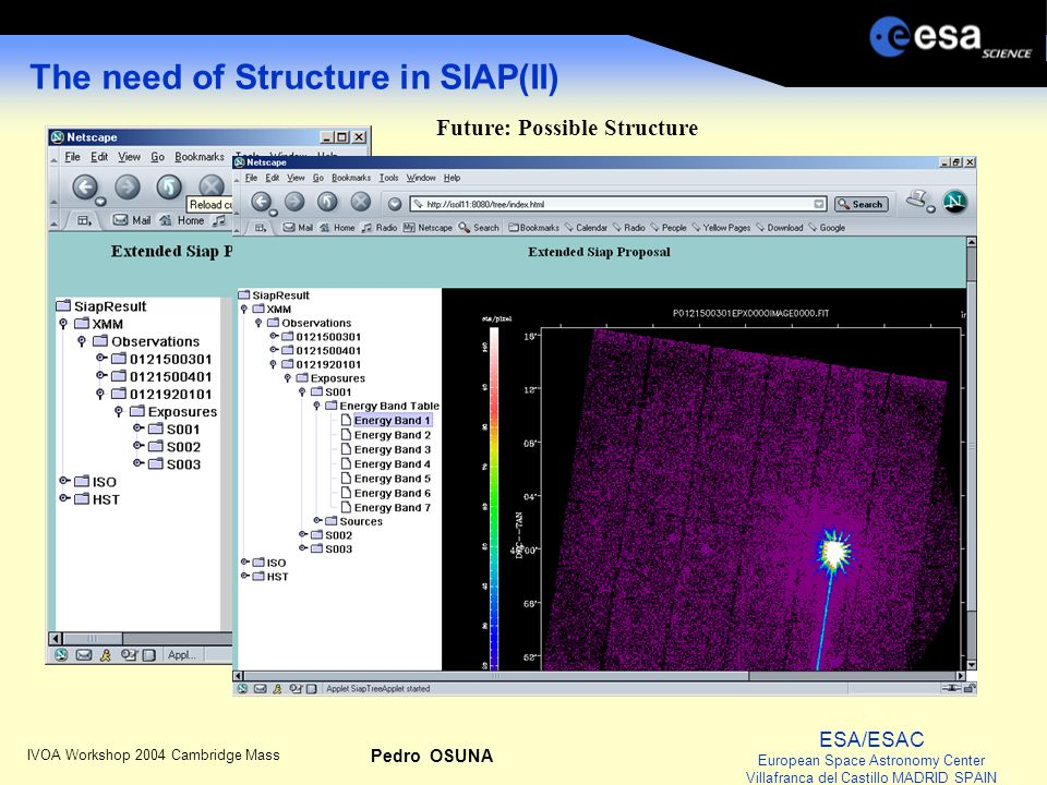 ESA/ESAC European Space Astronomy Center Villafranca del Castillo MADRID SPAIN IVOA Workshop 2004 Cambridge Mass Pedro OSUNA The need of Structure in SIAP(II) Future: Possible Structure