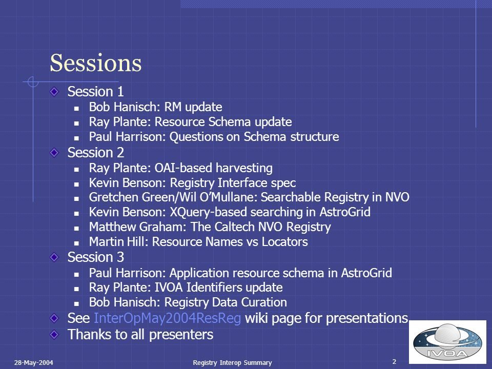2 28-May-2004Registry Interop Summary Sessions Session 1 Bob Hanisch: RM update Ray Plante: Resource Schema update Paul Harrison: Questions on Schema structure Session 2 Ray Plante: OAI-based harvesting Kevin Benson: Registry Interface spec Gretchen Green/Wil OMullane: Searchable Registry in NVO Kevin Benson: XQuery-based searching in AstroGrid Matthew Graham: The Caltech NVO Registry Martin Hill: Resource Names vs Locators Session 3 Paul Harrison: Application resource schema in AstroGrid Ray Plante: IVOA Identifiers update Bob Hanisch: Registry Data Curation See InterOpMay2004ResReg wiki page for presentations Thanks to all presenters
