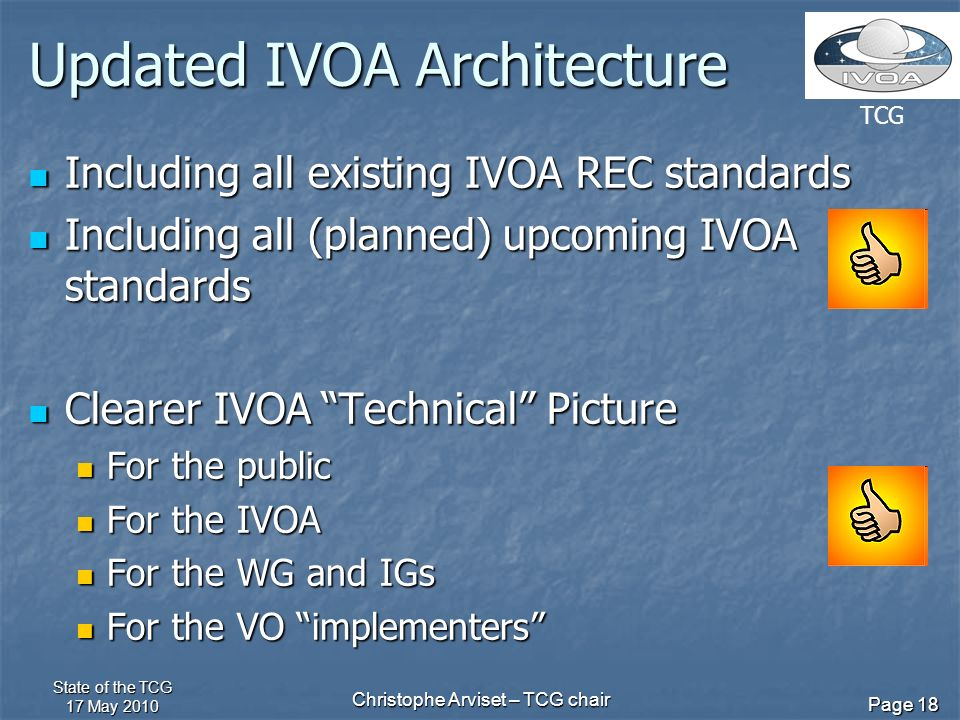 TCG State of the TCG 17 May 2010 Christophe Arviset – TCG chair Page 18 Updated IVOA Architecture Including all existing IVOA REC standards Including all existing IVOA REC standards Including all (planned) upcoming IVOA standards Including all (planned) upcoming IVOA standards Clearer IVOA Technical Picture Clearer IVOA Technical Picture For the public For the public For the IVOA For the IVOA For the WG and IGs For the WG and IGs For the VO implementers For the VO implementers