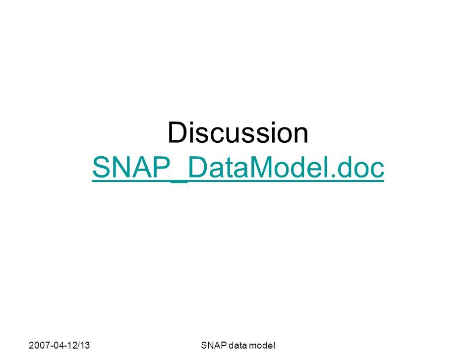 2007-04-12/13SNAP data model Discussion SNAP_DataModel.doc SNAP_DataModel.doc