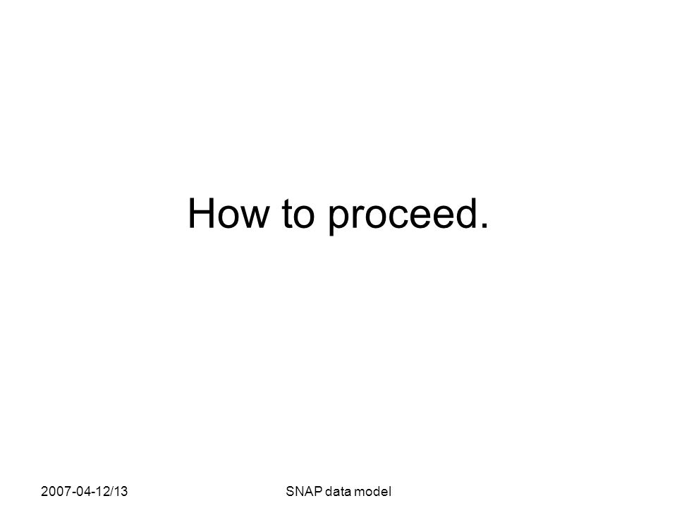 2007-04-12/13SNAP data model How to proceed.