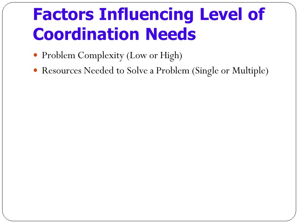 Factors Influencing Level of Coordination Needs Problem Complexity (Low or High) Resources Needed to Solve a Problem (Single or Multiple)