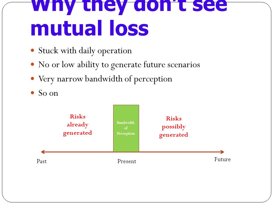 Why they dont see mutual loss Stuck with daily operation No or low ability to generate future scenarios Very narrow bandwidth of perception So on Past Future Present Bandwidth of Perception Risks already generated Risks possibly generated
