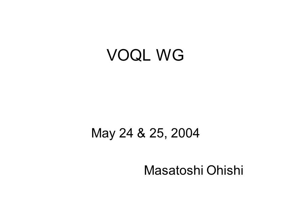 VOQL WG May 24 & 25, 2004 Masatoshi Ohishi